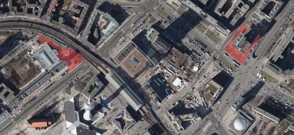 Stadtplätze im Wettbewerbsverfahren (Grundlage: Senatsverwaltung für Stadtentwicklung und Umwelt, Digitale farbige Orthophotos 2016)